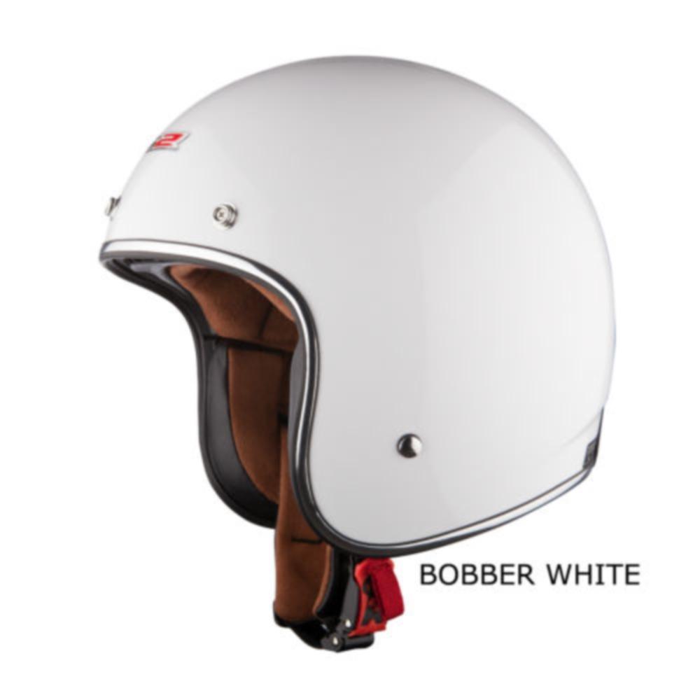 LS2 OF583 Open Face Low Profile Motorcycle Custom Bobber Helmet White Medium